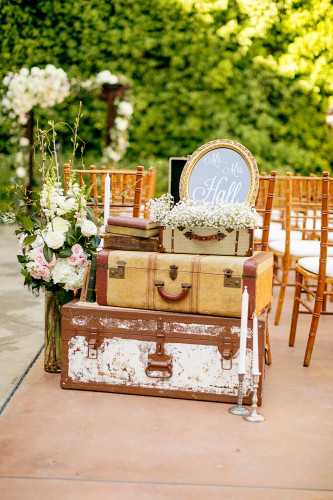 Vintage trunks at wedding ceremony