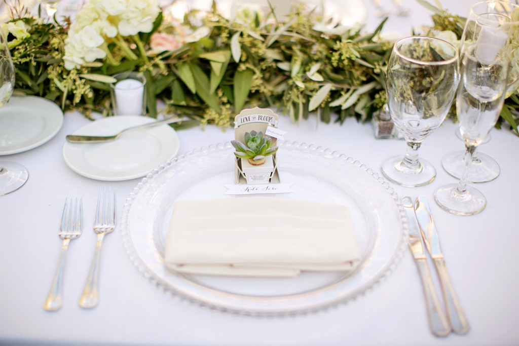 White and glass table setting for wedding at Franciscan Gardens by Lucky Day Events Co. and Chard Photography