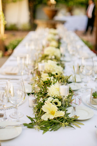 White table setting at Franciscan Garden Wedding
