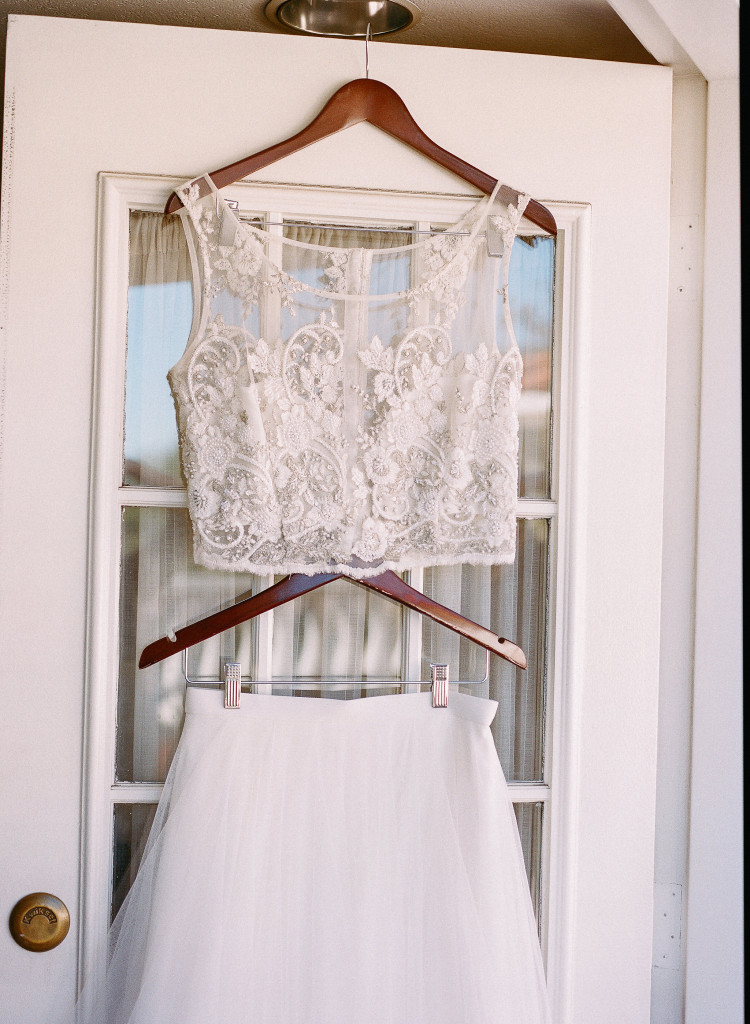 Two piece wedding dress.