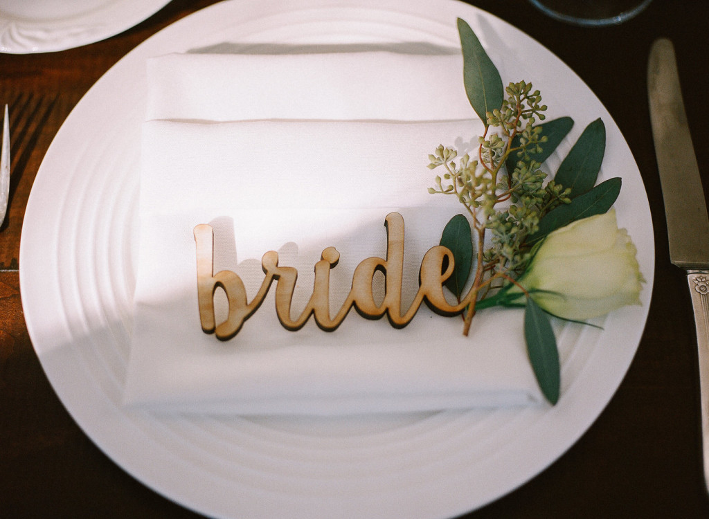 Bride laser cut wooden place card