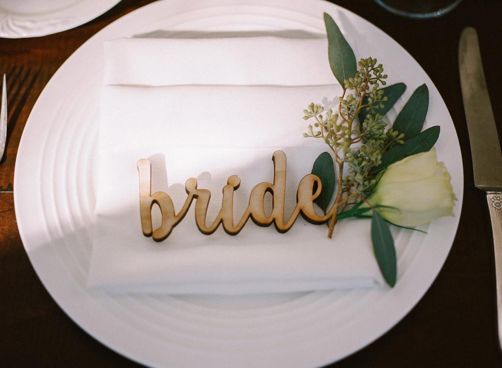 Bride laser cut wooden place card