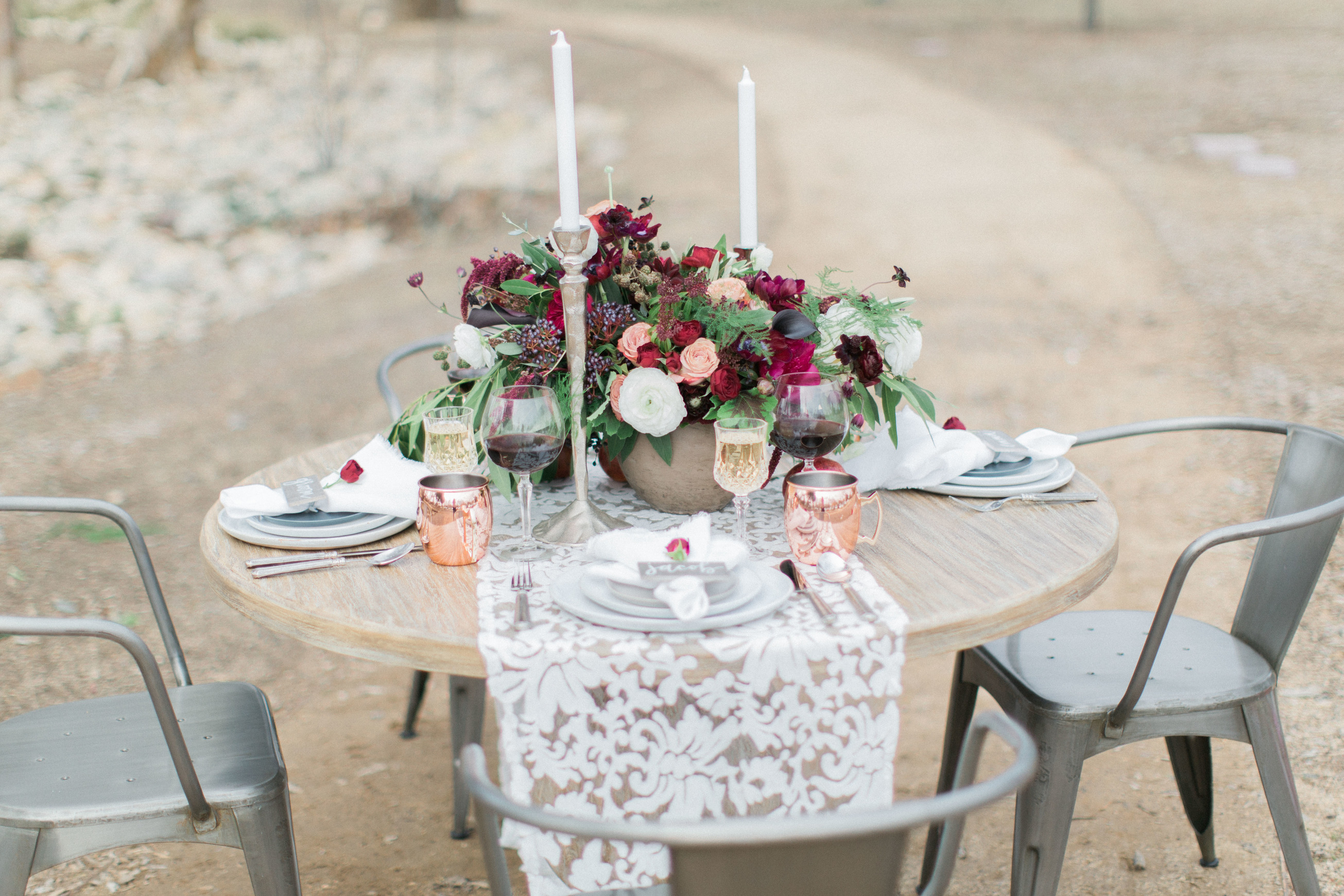 Burgundy and merlot wedding table setting