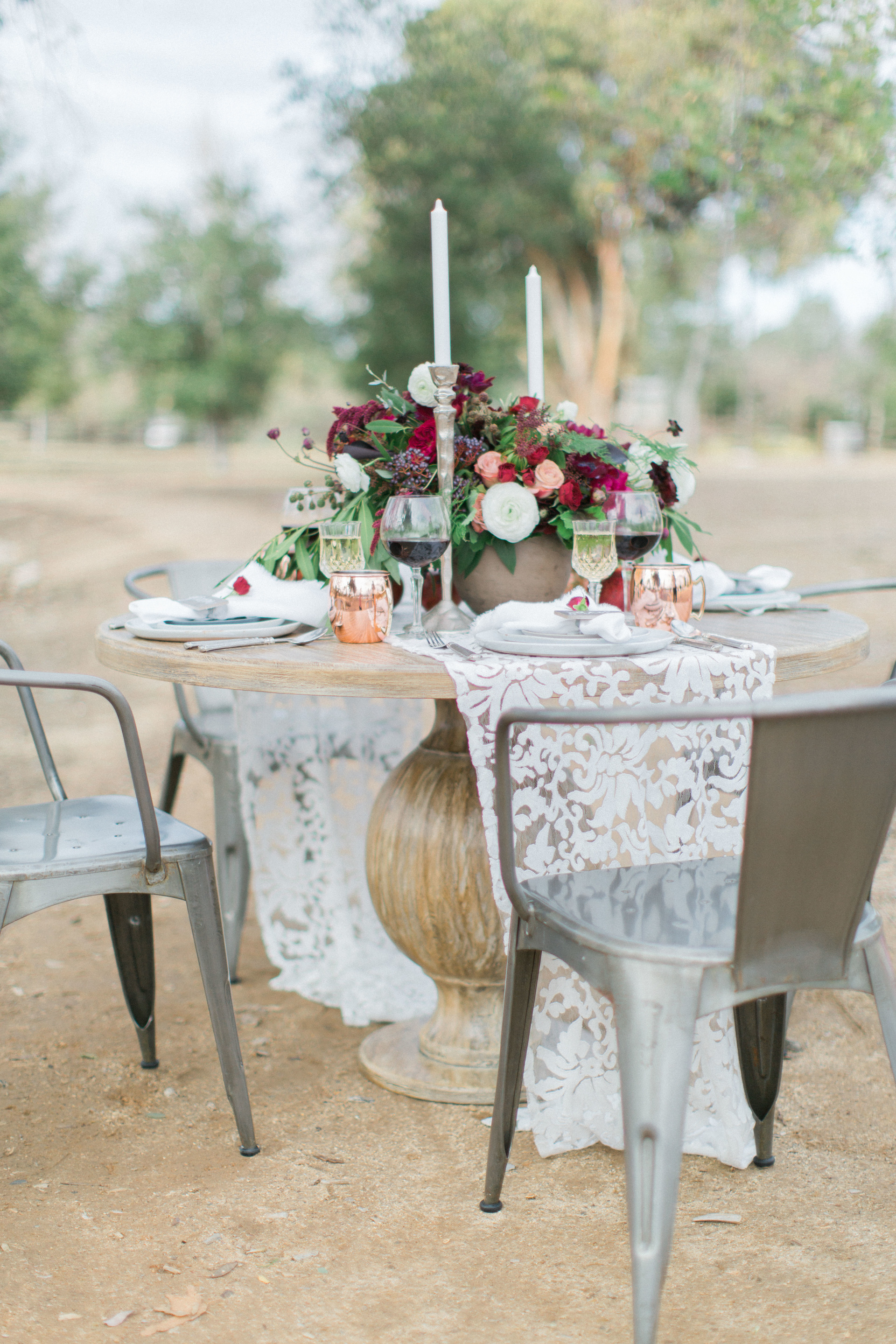 San Juan Capistrano Romantic Outdoor Styled Shoot // Lucky Day Events Co // Devon Donnahoo Photography // Burgundy and Merlot Colored Table Setting