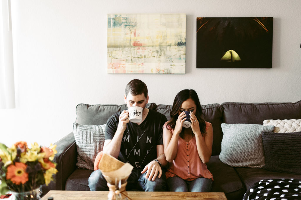 Engagement picture of couple wedding planning.