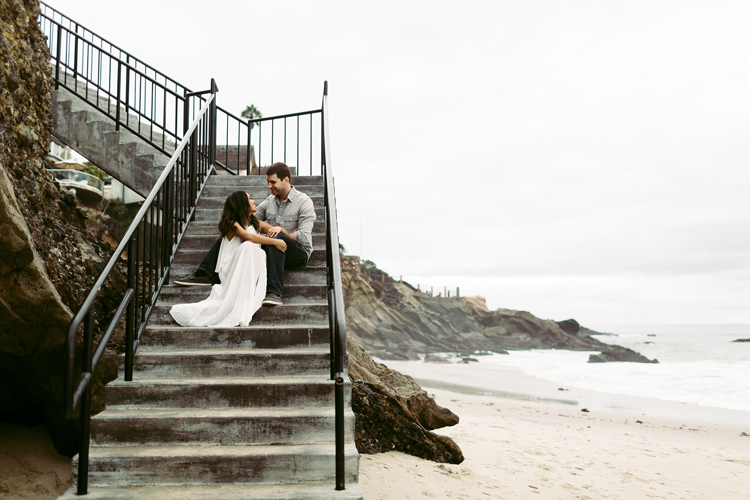 Engagement photo of couple at Laguna Beach.