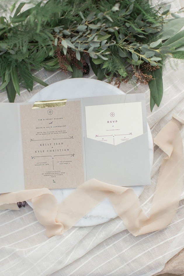 Soft grey and blush wedding invitation