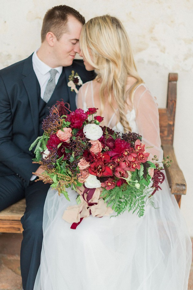 Merlot and blush bridal bouquet