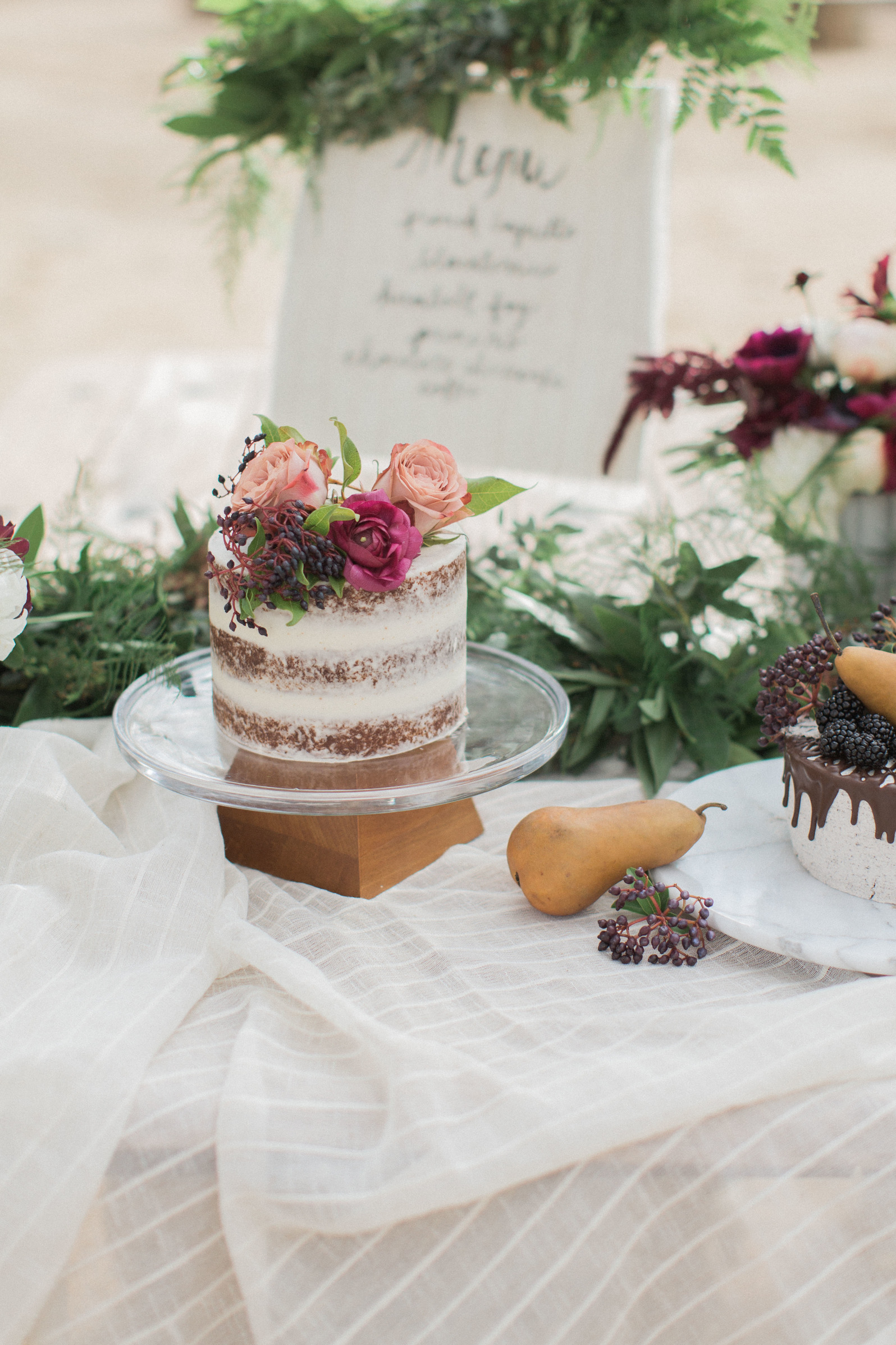 Burgundy and blush naked cake for wedding