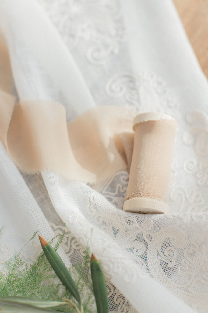 Soft torn silk blush ribbon for wedding decor
