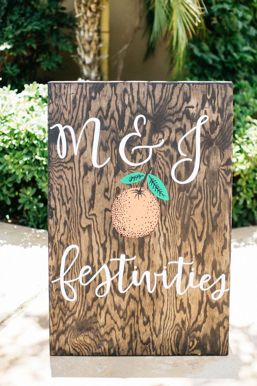 Custom Citrus calligraphy sign for wedding