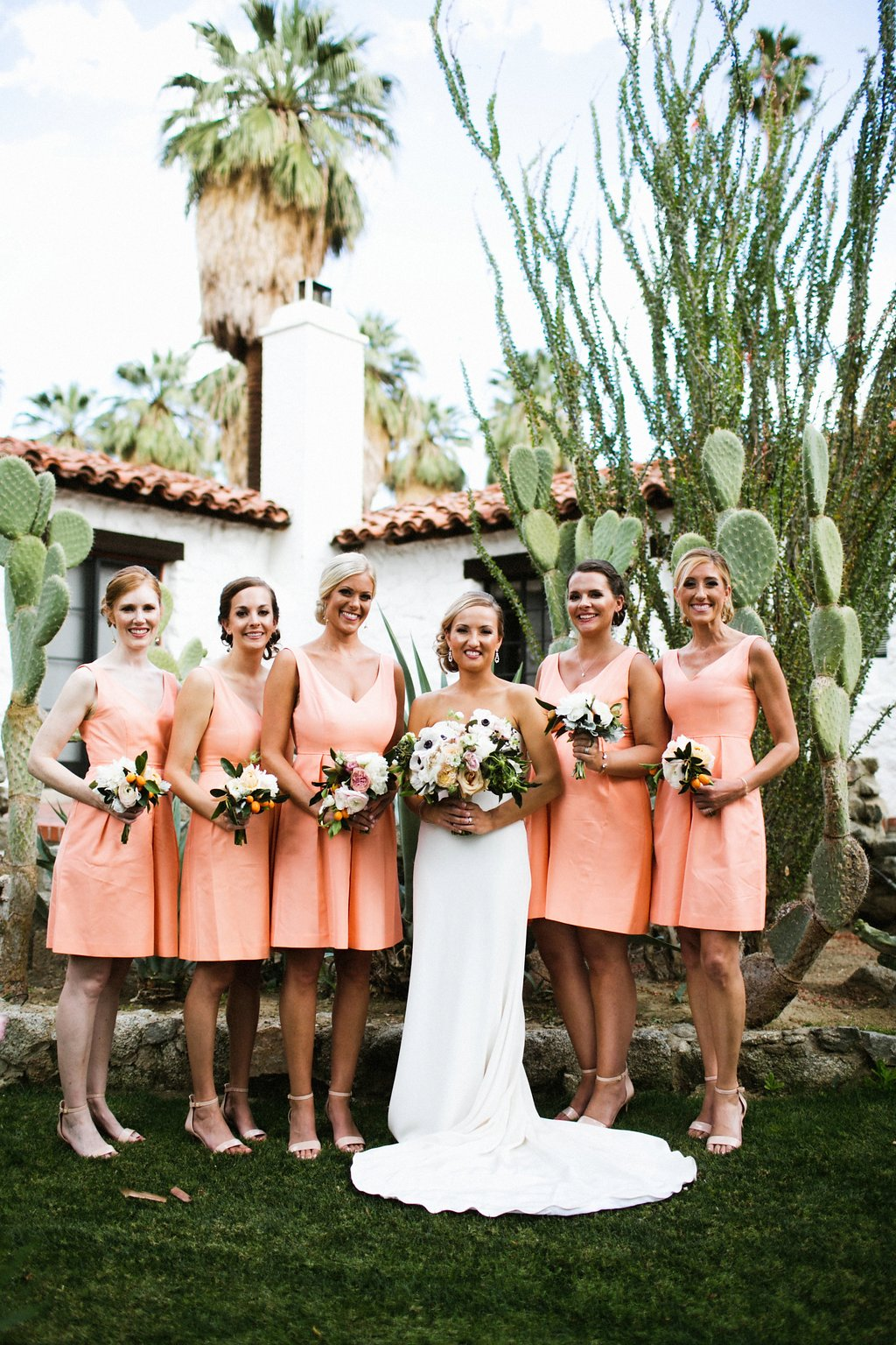 Coral short bridesmaids dresses