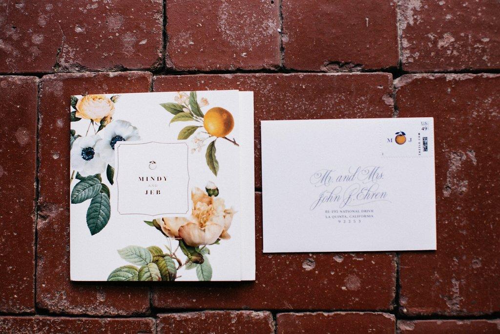 Smitten On Paper custom citrus wedding invitations