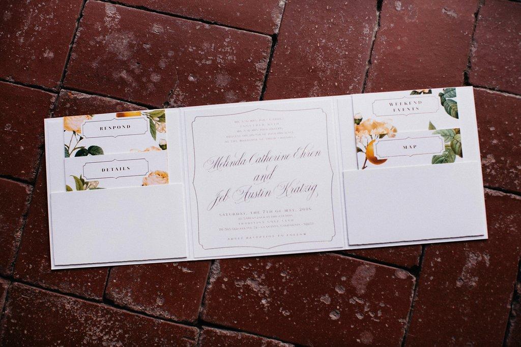 Custom citrus Wedding invitation suite designed by Smitten on Paper with Planning and Styling by Lucky Day Events Co.