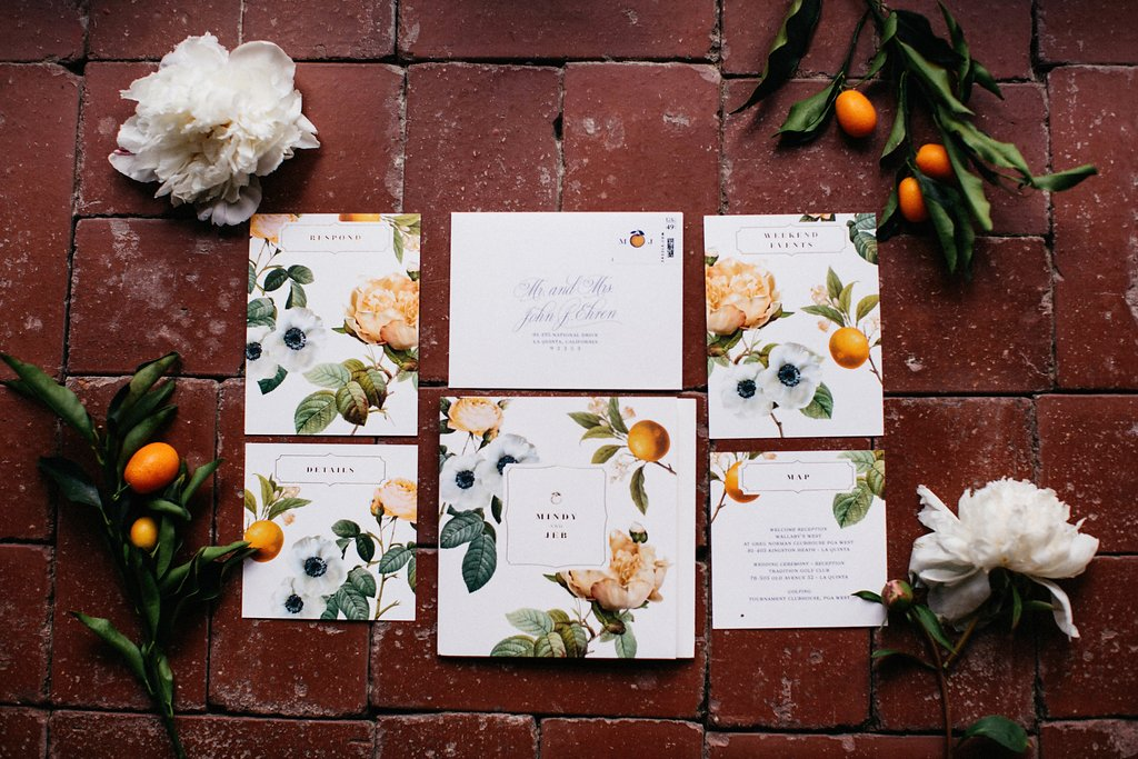 Smitten On Paper custom citrus wedding invitations