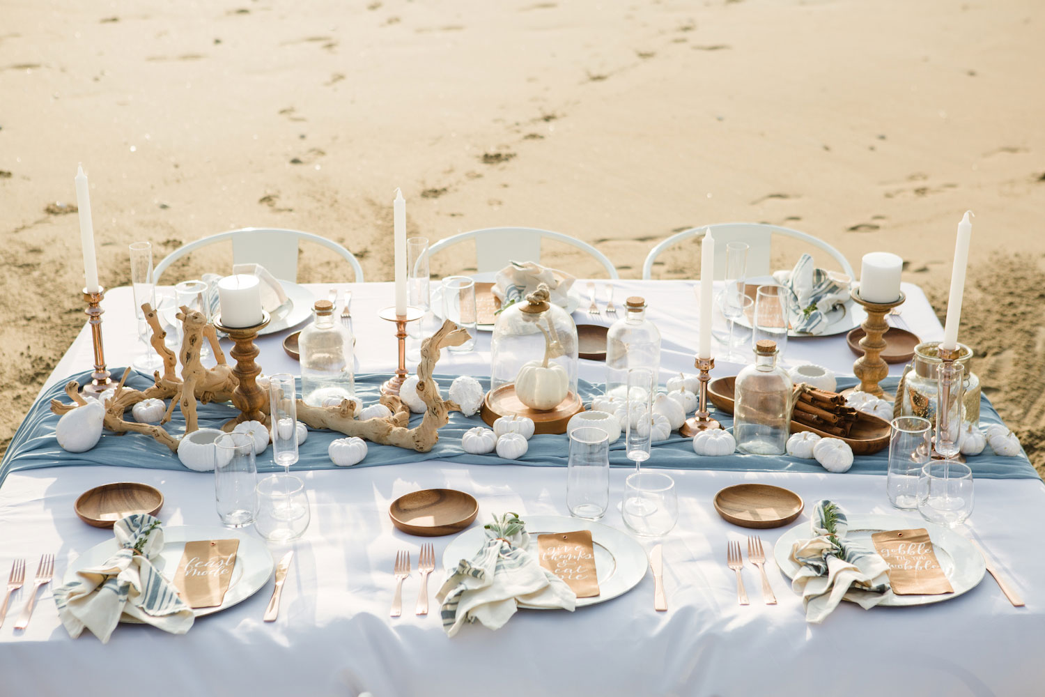 Beach table setting for thanksgiving southern caliifornia
