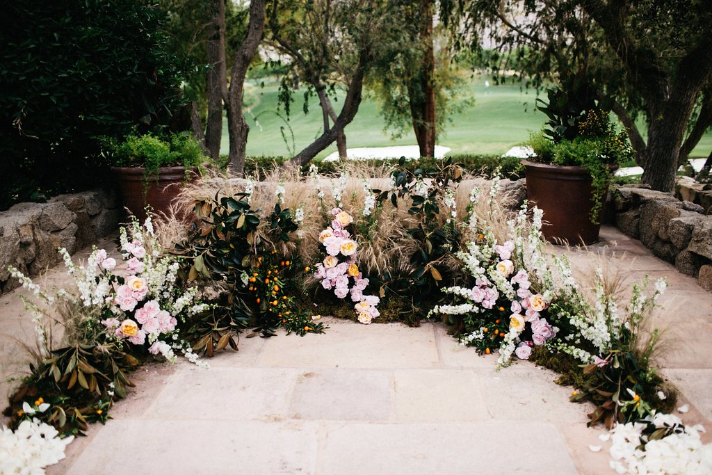 Floral arch on floor