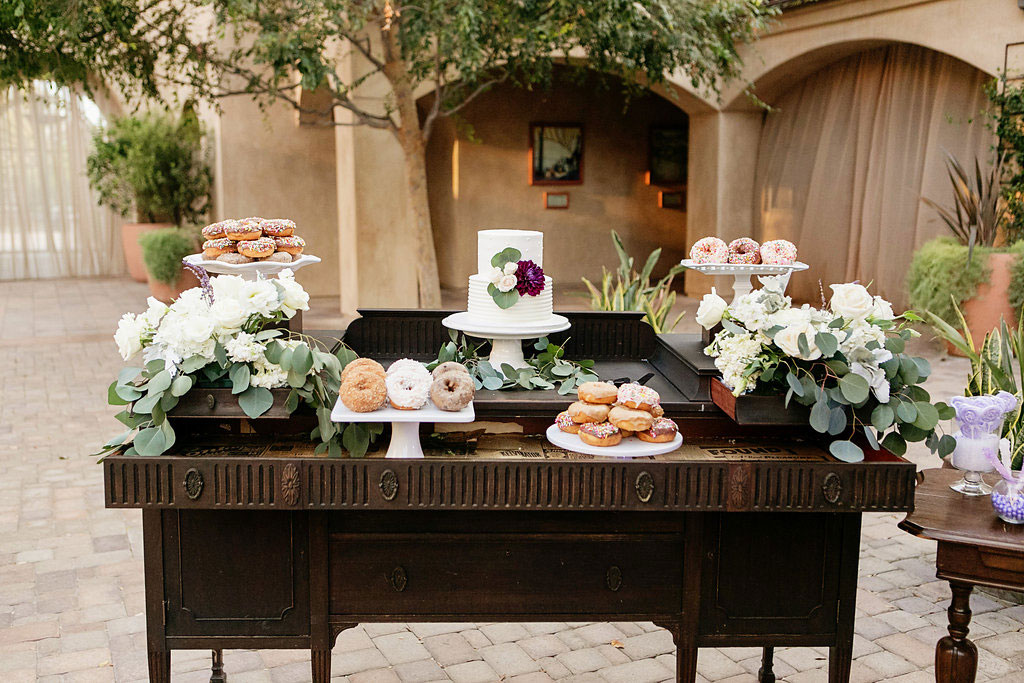 Cake and doughnut bar at Serra Plaza wedding by Lucky Day Events Co. and Chard Photography
