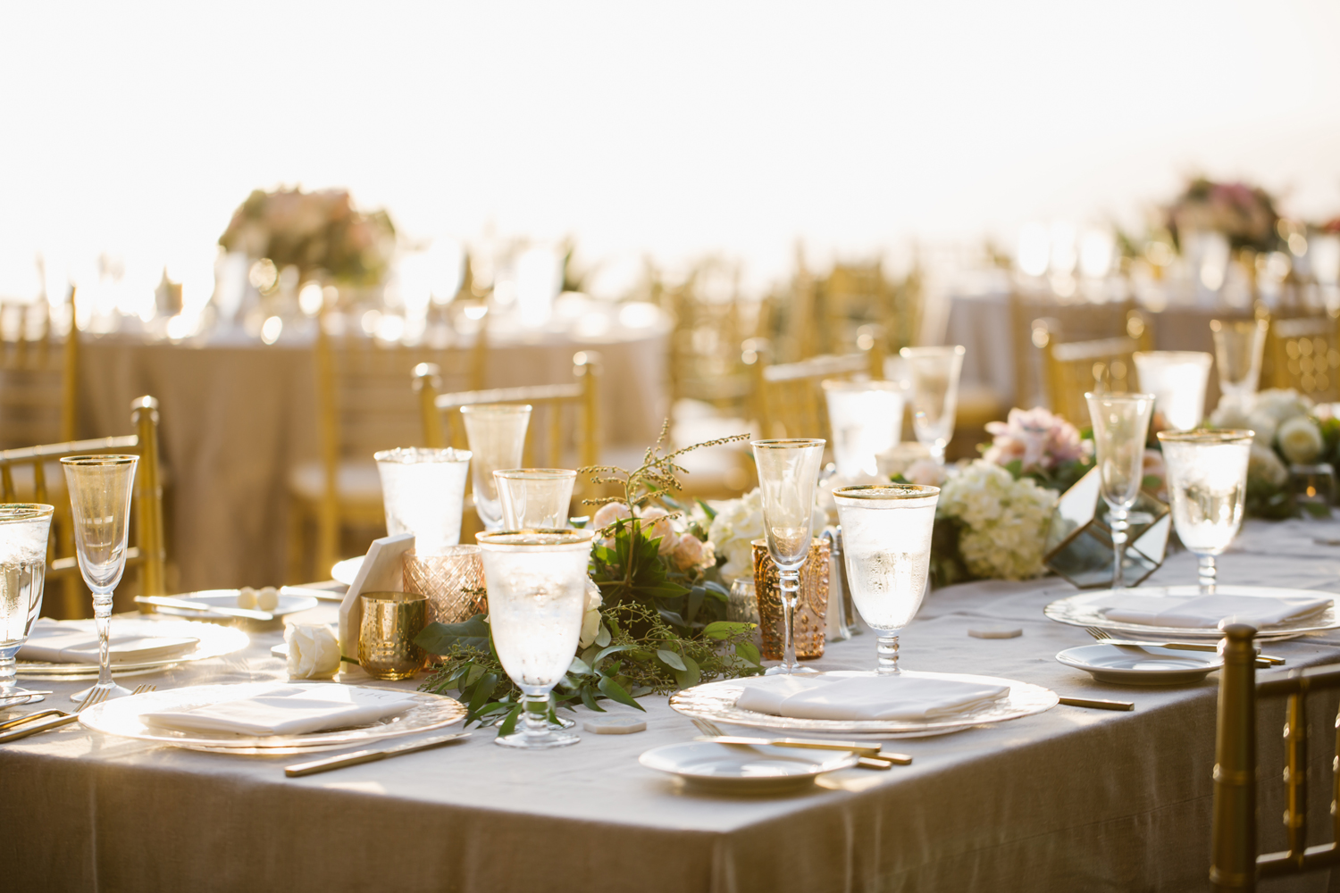 Gold and blush table setting at the Ritz Carlton