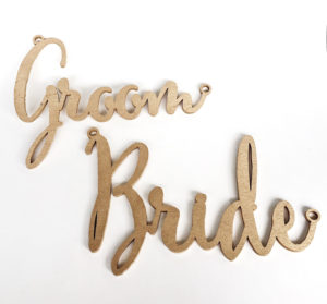 Lucky Rentals // Wooden Lasercut Chair Signs // Southern California Wedding Detail Rentals // Lucky Day Events Co.