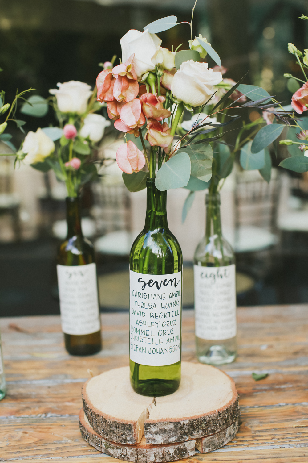Glass table numbers wine bottles