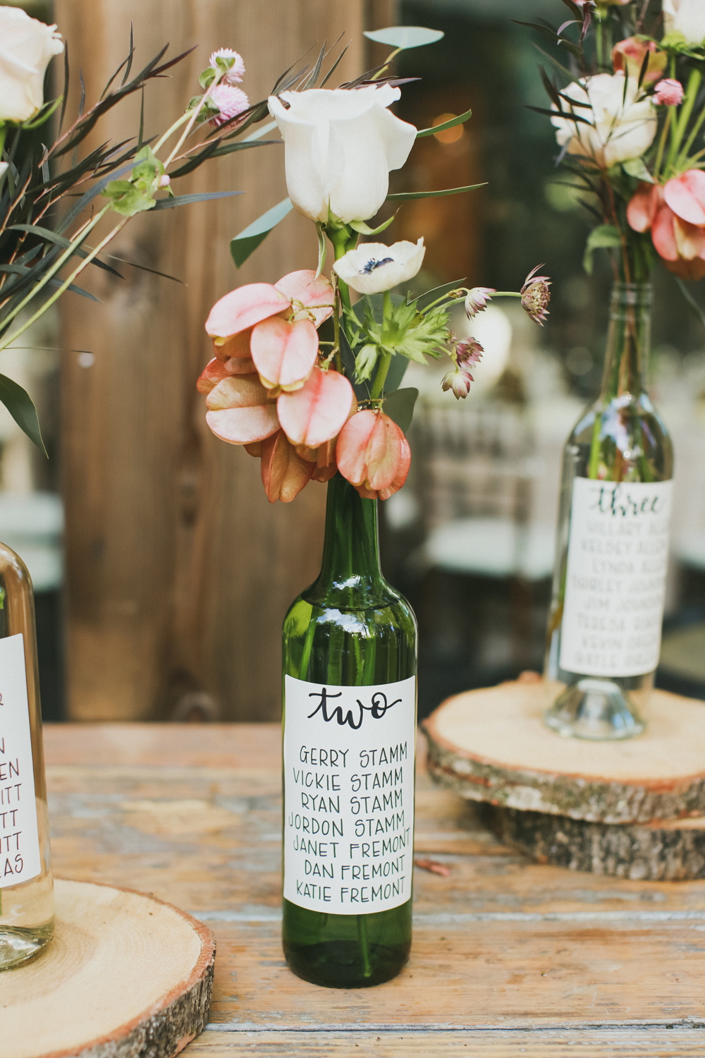 Glass number table numbers with flowers