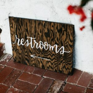 Lucky Rentals // Wooden Restroom Directional Signs // Southern California Wedding Detail Rentals // Lucky Day Events Co.