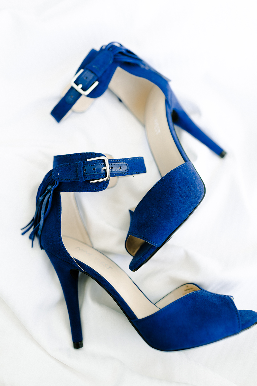 blue suede wedding heels