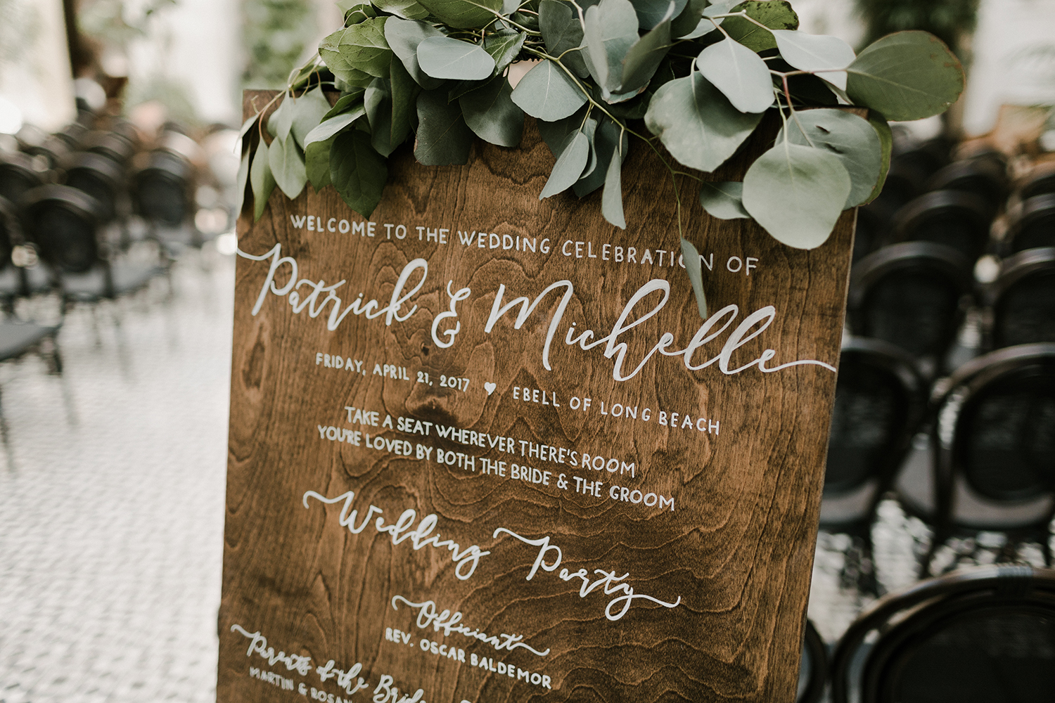 wood welcome sign for wedding