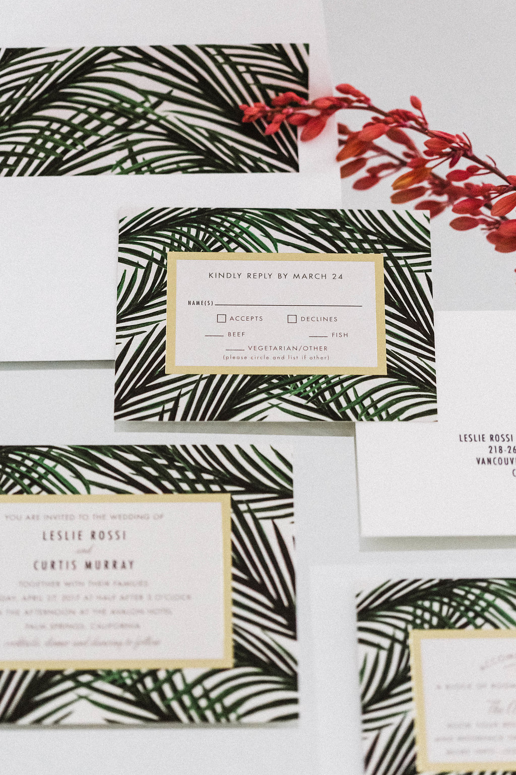 Palm Leaf Minted Invitations at Avalon Palm Springs Wedding