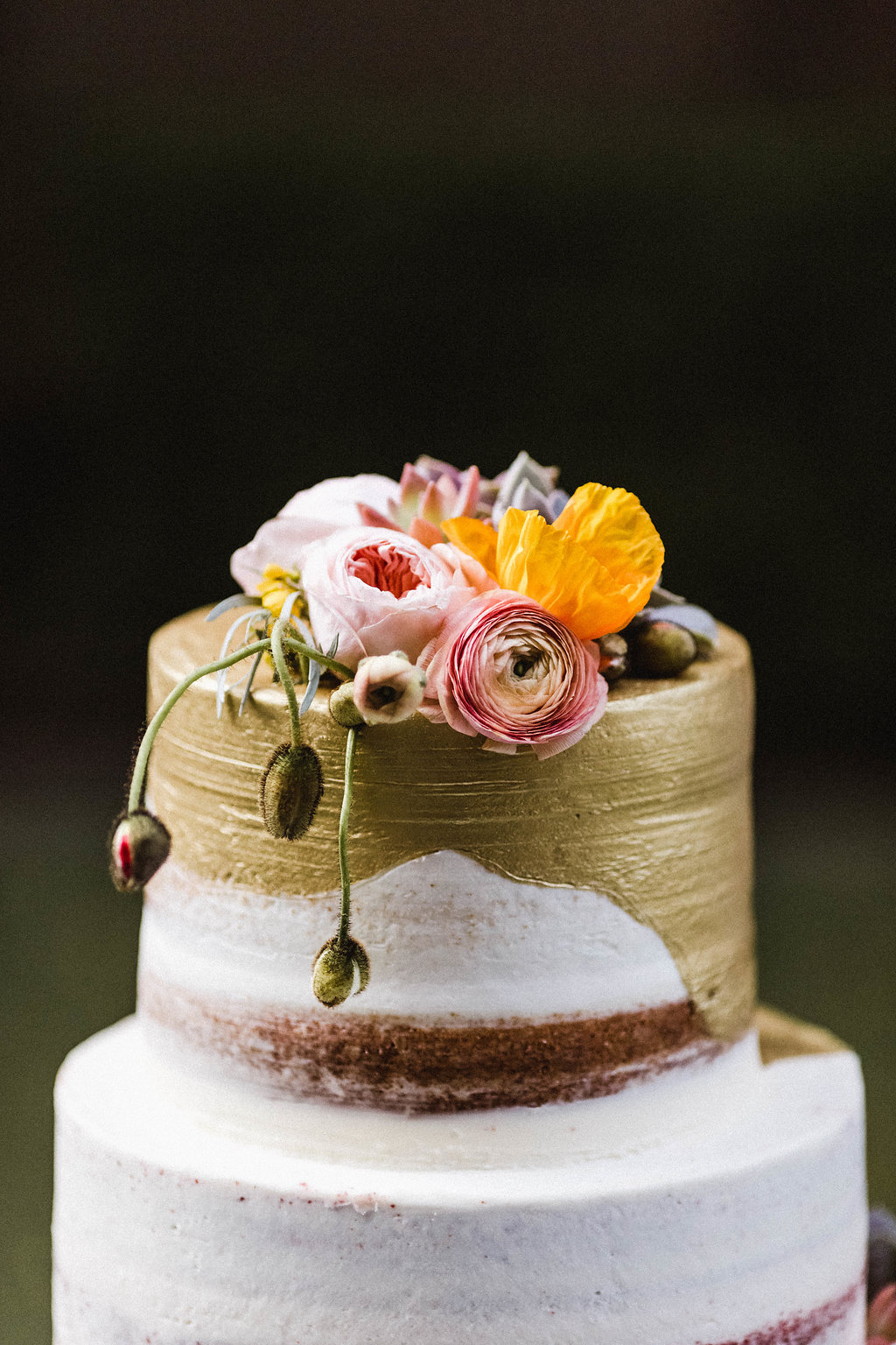 Gold leaf wedding cake at the Avalon Palm Springs