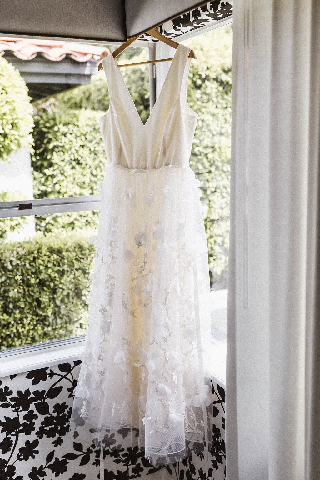 White hanging dress sheer at Avalon Palm Springs Wedding