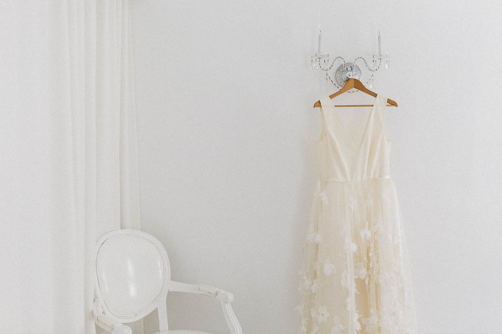 White hanging dress at Avalon Palm Springs Wedding