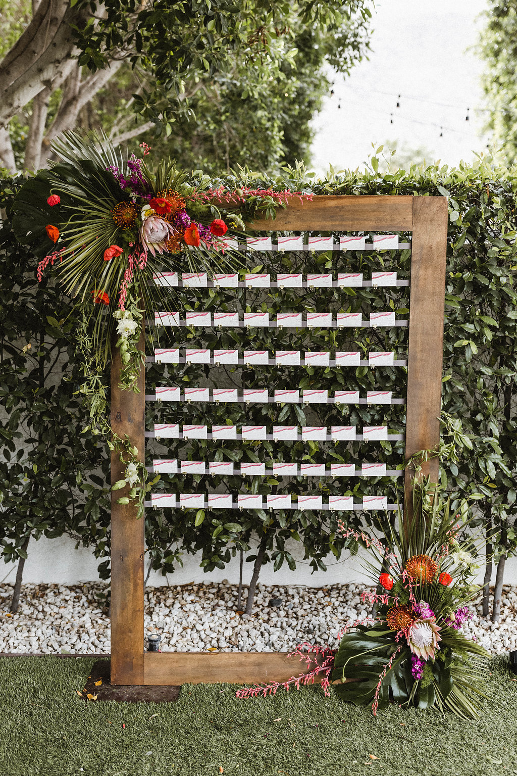 Avalon Palm Springs Wedding // Sarah Falugo Photography // Lucky Day Events Co. // Modern Desert Wedding // Escort Card Display // Escort Card Display // Escort Wall