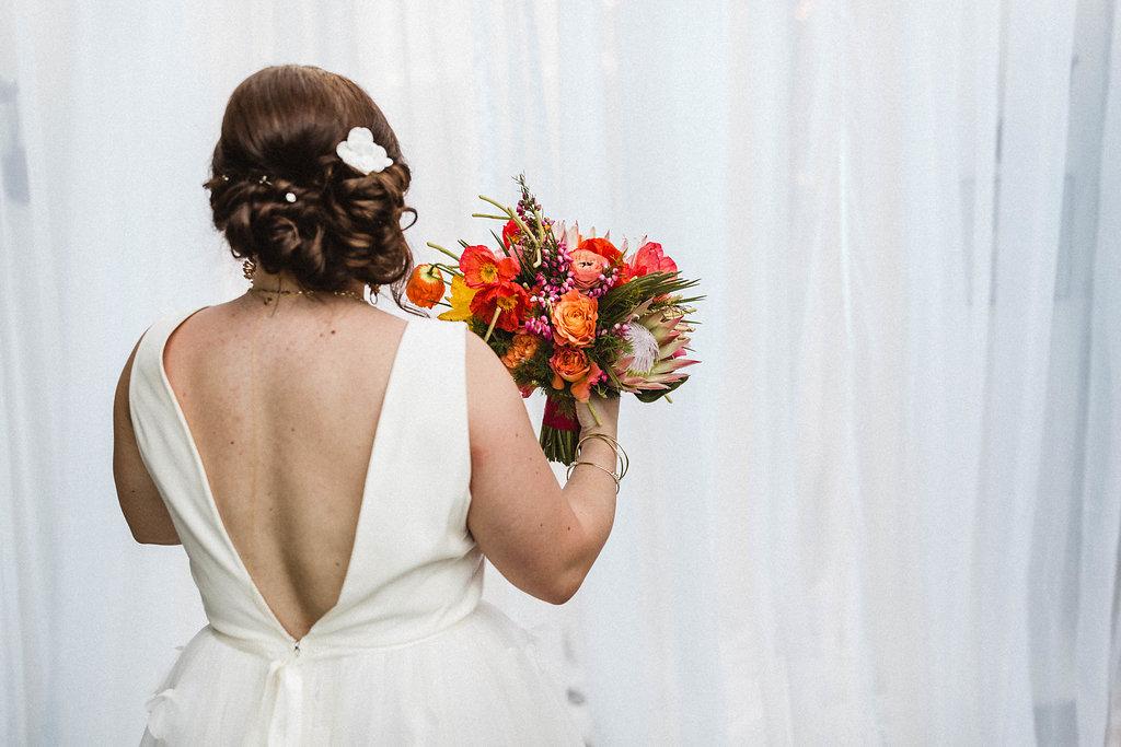 Bright Desert Flowers in Modern Avalon Palm Springs Wedding