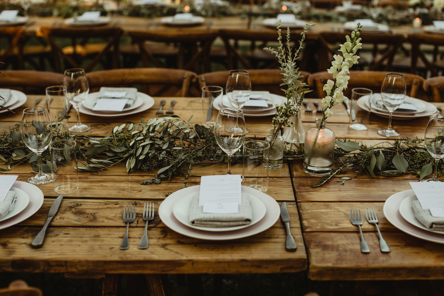 wooden tables for wedding