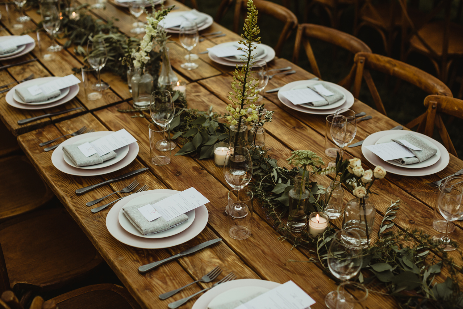 blush grey wood wedding table