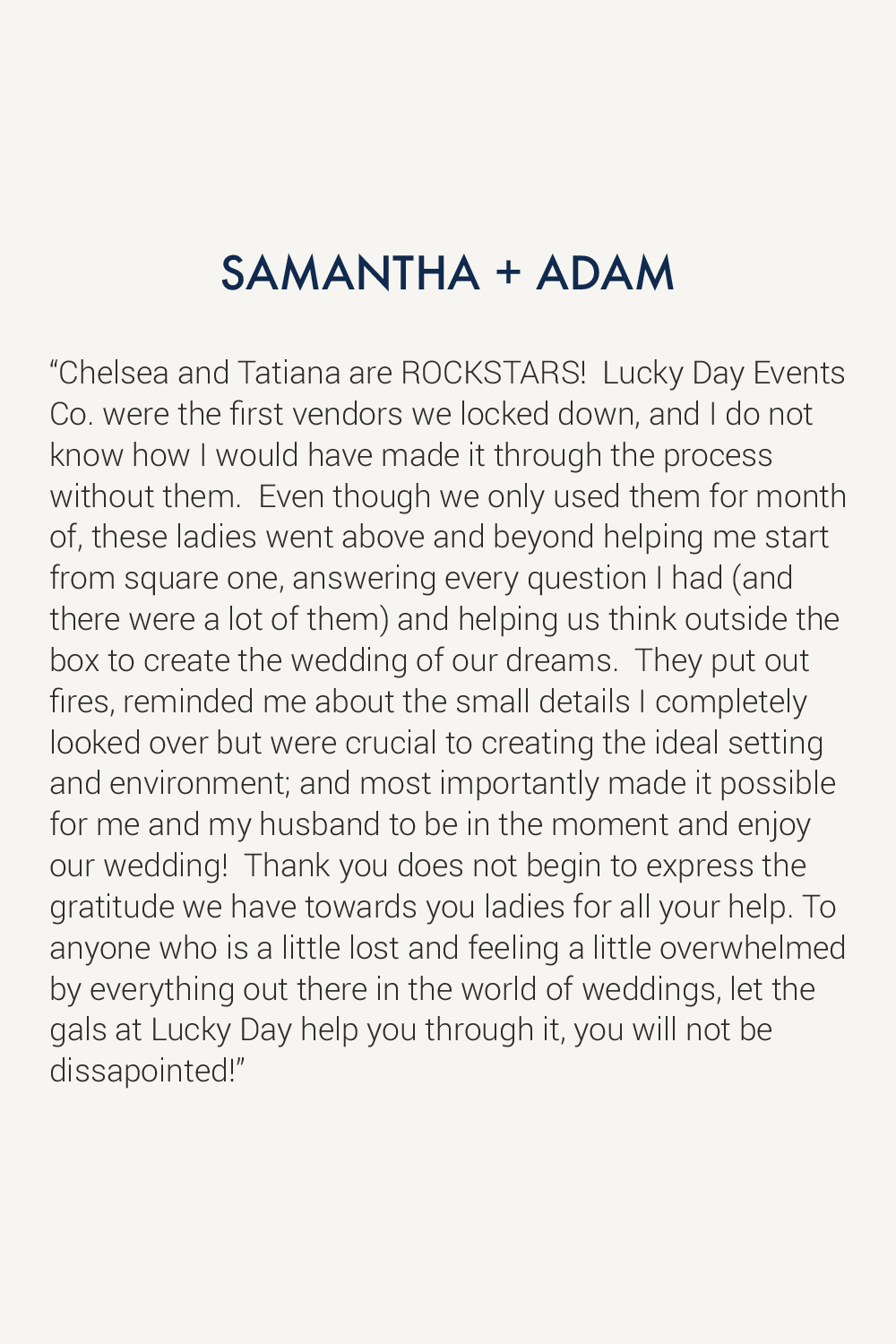 Lucky Day Events Co. Testimonial