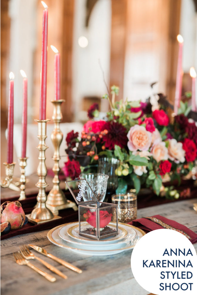 Rich Luxe Anna Karenina Styled Shoot / The MacArthur Los Angeles Wedding / Inessa Nichols Design / Anya Kearnes Photography / Lucky Day Events Co. / Dish Wis Girl / Gold Gilded Glass Tablescape