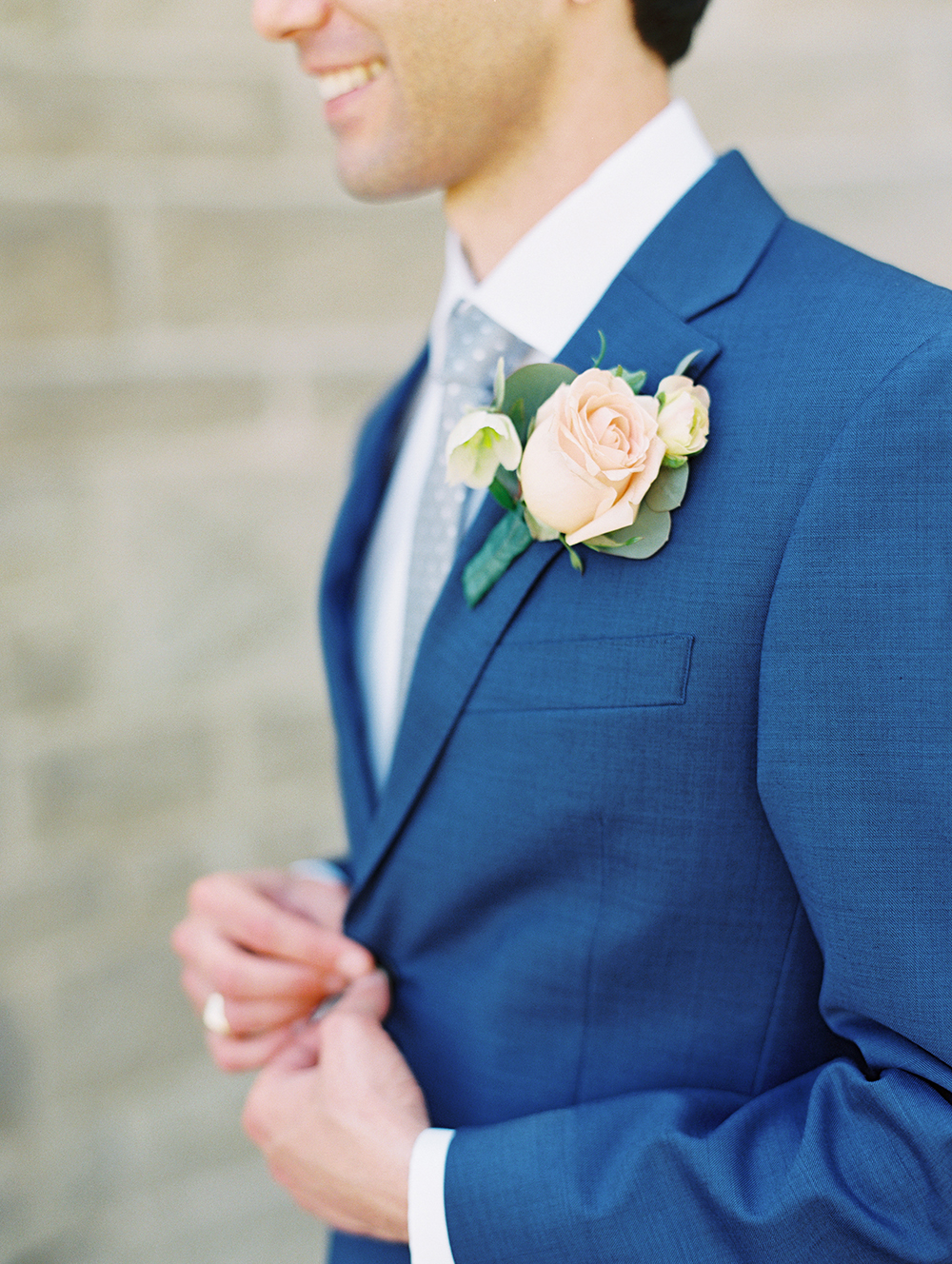 Romantic and Classic Greystone Mansion Wedding by Lucky Day Events Co. x Jordan Galindo Photography / Navy Groom's Suit