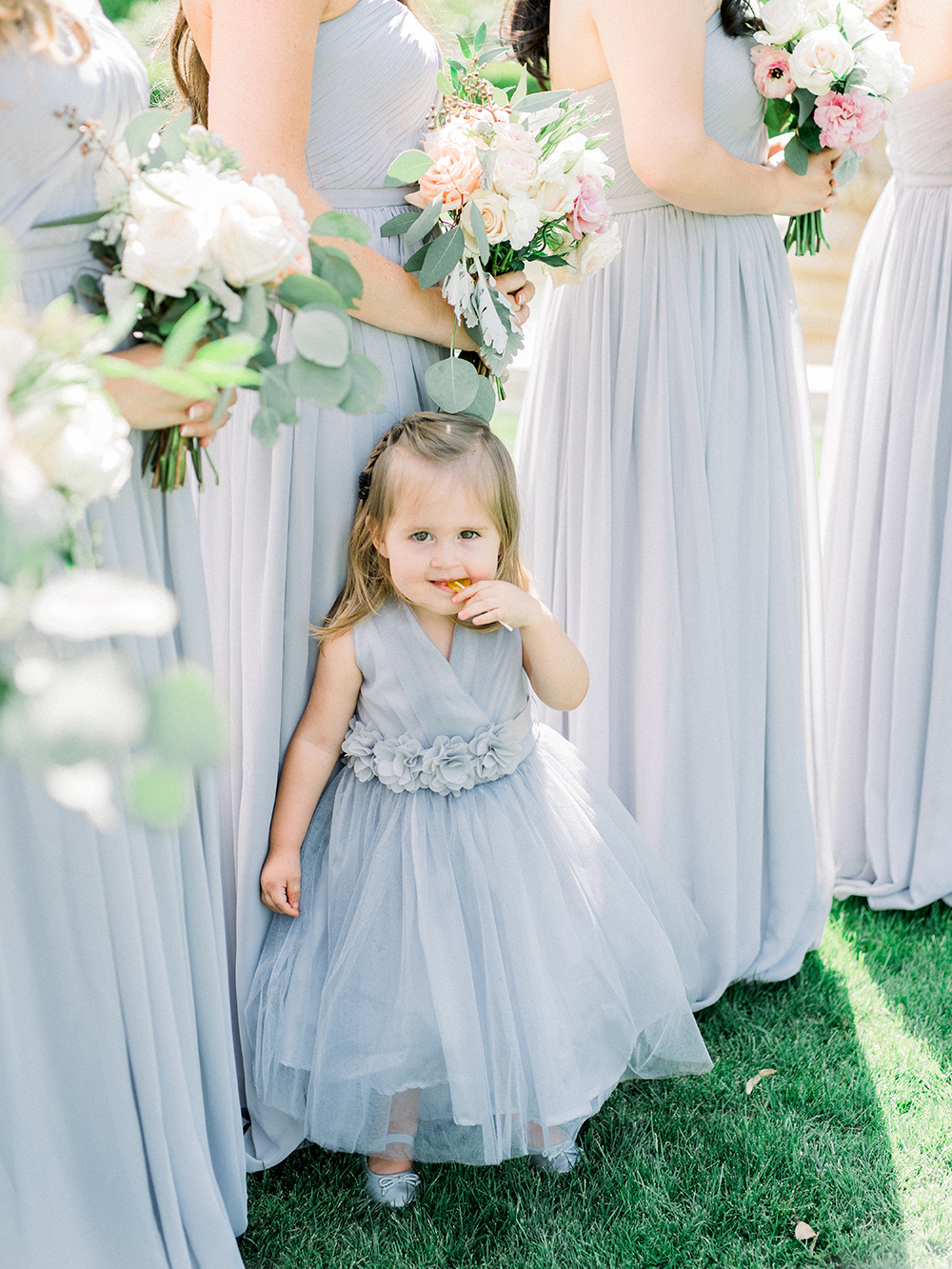 Romantic and Classic Greystone Mansion Wedding by Lucky Day Events Co. x Jordan Galindo Photography // Flower Girl in Grey Dress