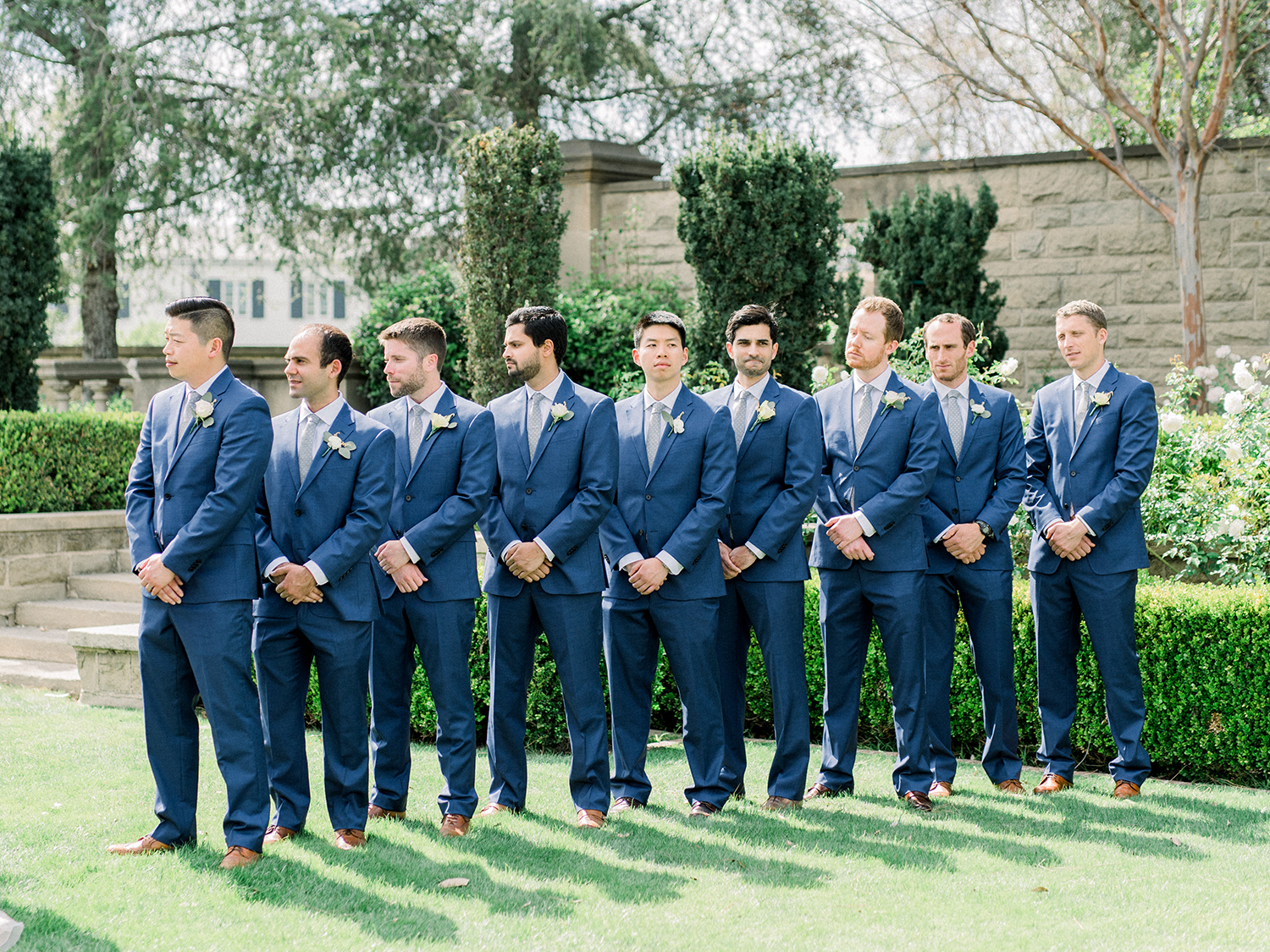 Romantic and Classic Greystone Mansion Wedding by Lucky Day Events Co. x Jordan Galindo Photography // Navy Groomsmen Suits