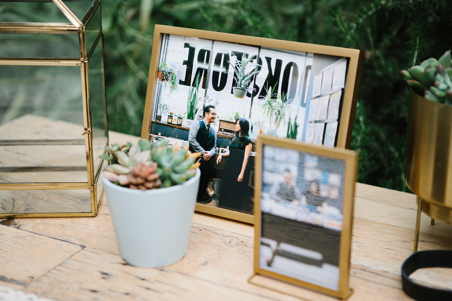 Glass and brass frames for wedding