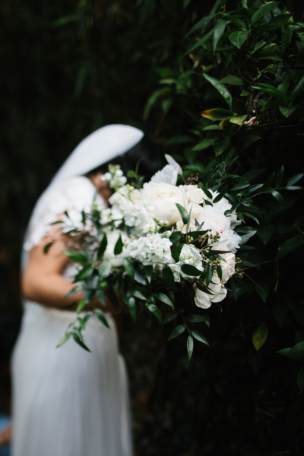 Moody white and green bridal bouquet