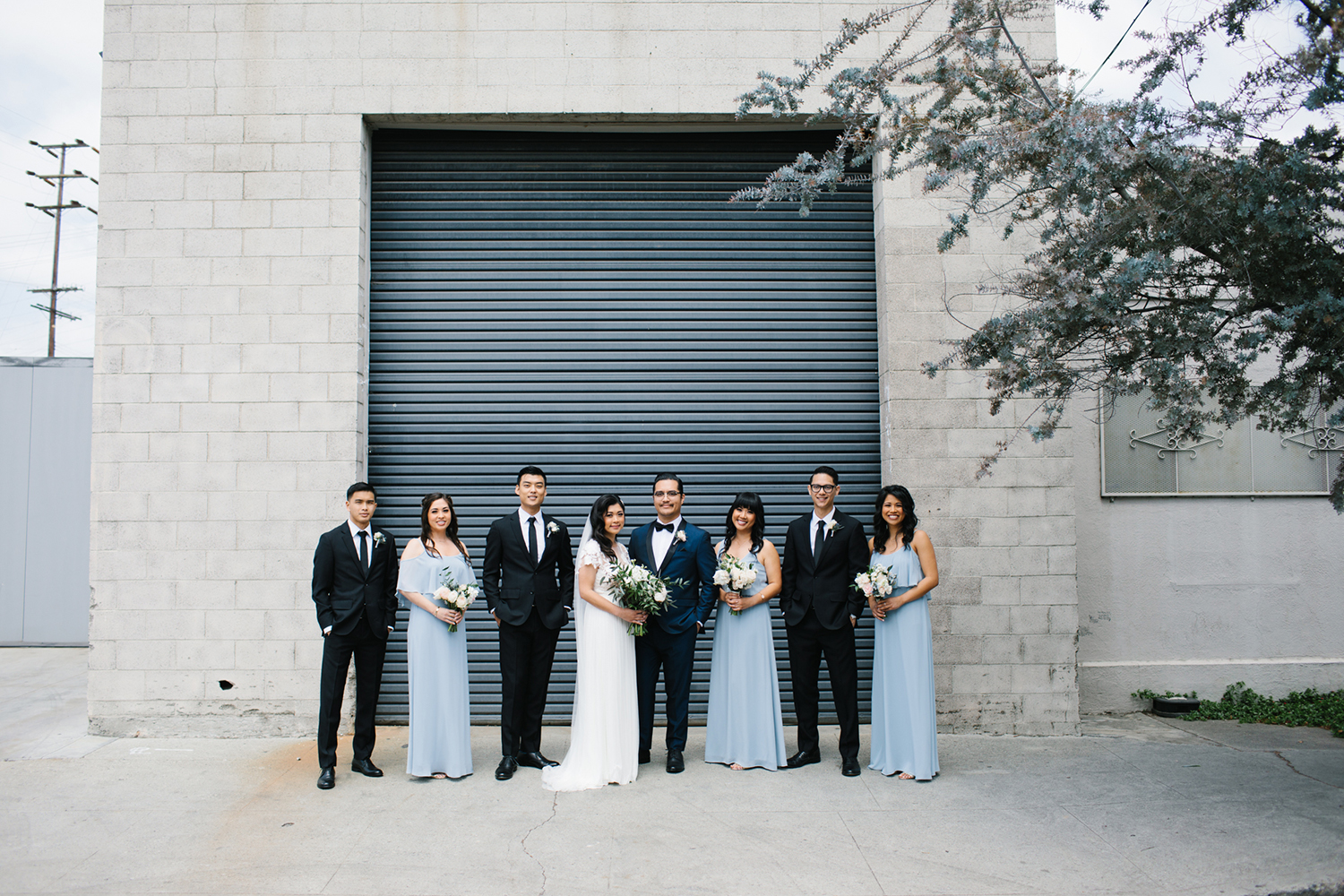 Light blue and navy bridal party