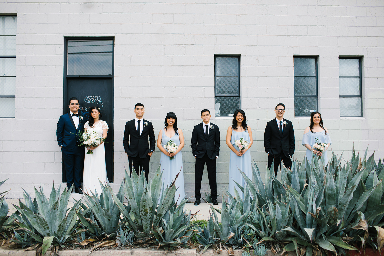 Blue and white bridal party