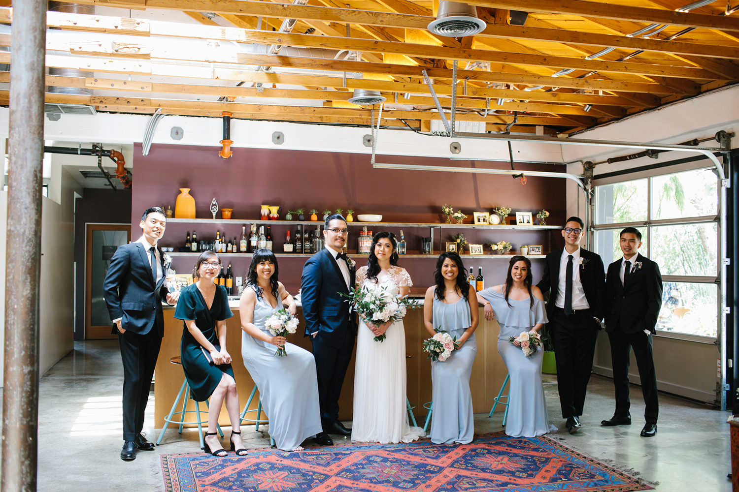 Modern LA bridal party at The Elysian