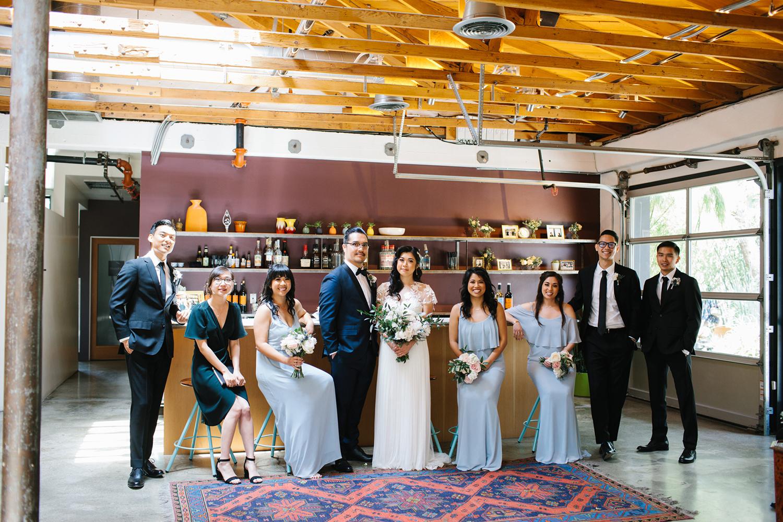 Modern LA bridal party at The Elysian