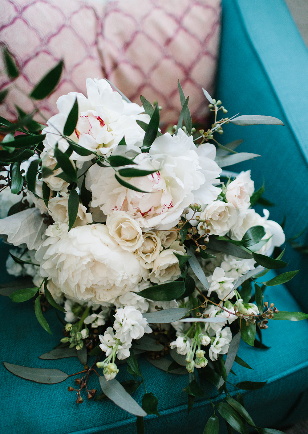 Bright pink and white peonies in bridal bouquet at modern LA wedding with Lucky Day Events Co.