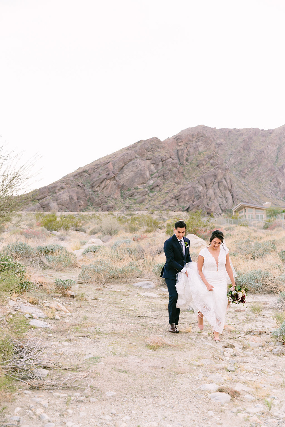 Bride and groom photos in desert